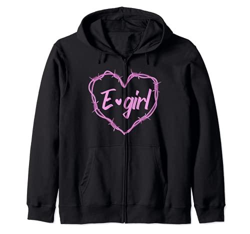 Esthétique E-girl Barbelés Coeur Grunge Pastel Goth Style Sweat à Capuche