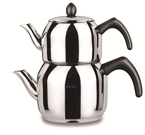 Hisar Bahama schwarz Teekanne Turkisch Tee Teekocher Caydanlik Edelstahl Induktion