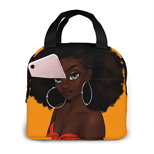 Matthzhang Lunch Bag Black Art African American Women Girl Afro Earring Insulated Lunch Tote Boxes Cooler Bag For Adults Men Women Kids Boys Nurses Teens