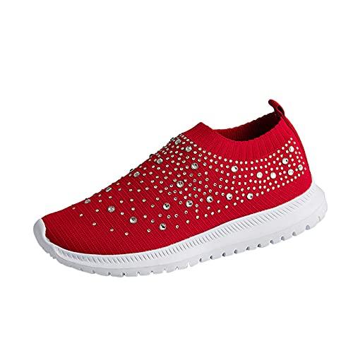 Zapatillas Mujer Casual Deportivas Caminar para Mujer/Hombre,Transpirable Zapatos de Running Sneakers Ligeras Zapato,Zapatos de Cuña con Plataforma Mujeres Azul(D21_Red,42)