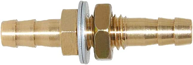 Joyway 1/4'' ID Hose Barb Thru-Bulk Head Hex Union Brass Fitting with Flat Washer Gasket Water/Fuel/Air