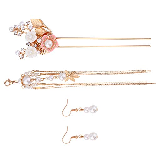 Lurrose Joyería de La Boda Conjunto de Perlas para El Cabello Perlas Pendientes de Gancho de Cristal Borla Larga Joyería para El Cabello para Mujeres Novia Novia Dama (Rosa)