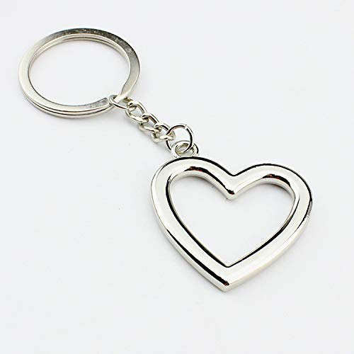 Afairy Heart Keychain, Metal Key Rings Car Key Ring Bag Accessories Charms, For Women Men (Color : Silver)