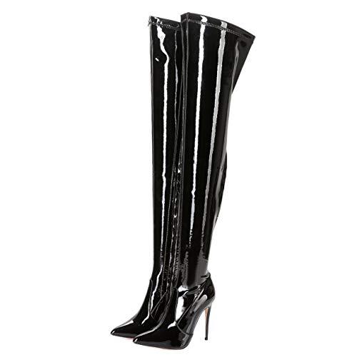 GIARO ARABELLA Premium Stiefel für Damen - elegante High-Heels - Kniestiefel mit hohem Absatz - Damenstiefel - Stöckelschuhe für Frauen - erhältlich in 15 Farben (Schwarz Glanz, numeric_44)