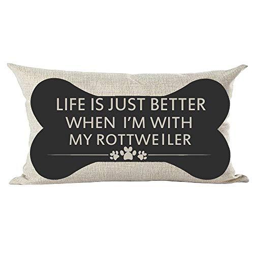 ramirar Quote leven is gewoon beter als ik met mijn Rottweiler hond Paw Print zwart bot Lumbar kussensloop Case Kussen Thuis Woonkamer Bed Sofa Auto Faux Katoen Linnen Rechthoekig 12 x 20 Inch