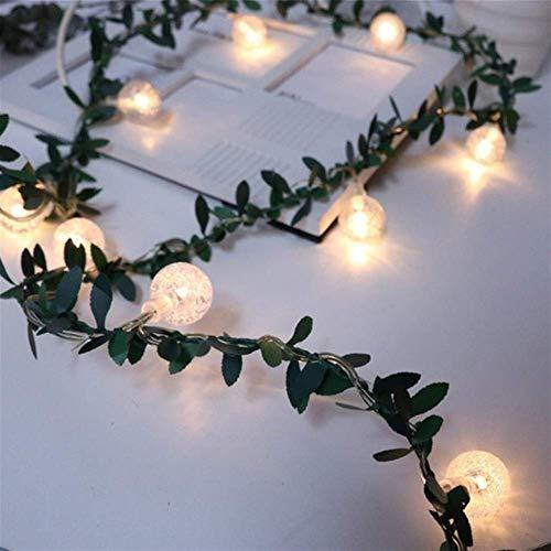 Soñadores Luz de Navidad, hoja verde Garland llevó las luces, con pilas de la flor de las luces de cadena de Rose por Adecuado for decoración de la boda, decoración del hogar luces decorativas FACAI