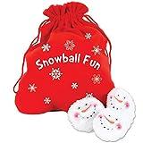 Dennis East Snowball Fight, 10 Plush Snowmen Balls in a Red Bag, Snowball Fun, Indoor Play