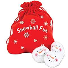 """Snowball Fight! 10 Plush Snowmen Balls and a Red Bag Labeled """"Snowball Fun"""" Indoor Play Bag 10"""" X 7"""" tied not spread flat Snowball 3"""" Diameter"""