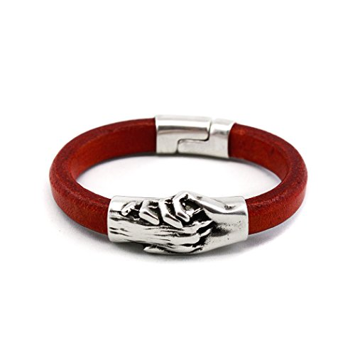 Silver Plated Hand and Dog Paw Symbol Bracelet, Genuine Leather Bracelet for Women and Men, Magnetic Clasp, Ideal for Pet Lovers and Pet Memorial, Thick Dyed Leather, Dark Red Color, Extra Large