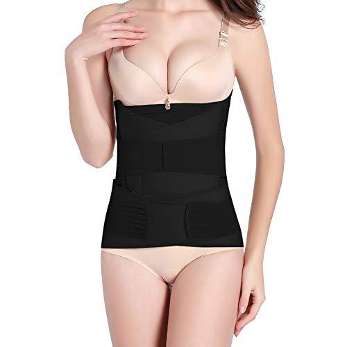 OKPOW 3-in-1 Bauchbandage für nach der Geburt, Bauchgurt, Korsett nach der Geburt, postnatale Pflege für Kaiserschnitt, Taille, Becken, formende Kleidung Gr. Einheitsgröße, Schwarz