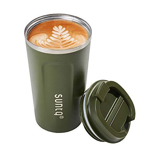 SUNTQ Reusable Coffee Cups Travel - Koffie Reisbeker met Lekdicht Deksel - Thermische Mok Geïsoleerde Beker - RVS Koffie Reisbeker - voor warme en koude dranken 18oz/510ml Leger Groen