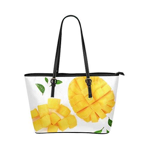 Mango Scheibe Frucht großes weiches Leder tragbarer Handgriff Handtragetaschen kausale Handtaschen mit Reißverschluss Schulter Einkaufen Geldbeutel Gepäck Organisator für Dame Girls