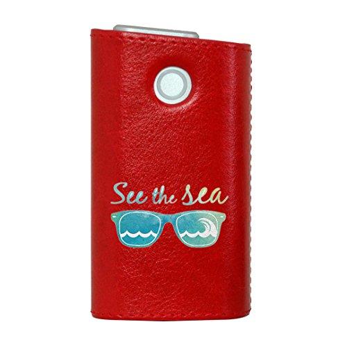 glo グロー グロウ 専用 レザーケース レザーカバー タバコ ケース カバー 合皮 ハードケース カバー 収納 デザイン 革 皮 RED レッド 海 ファッション サングラス 010528