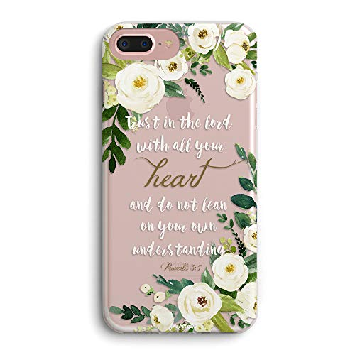 iPhone 8/iPhone 7/iPhone SE(2020) Cas,Cute Bible Verses Quotes Christian Inspirational Proverbs 3:5 Girls Women Floral Flowers Clear TPU Bumper Anti Scratch Protective Case Compatible for iPhone 7/8
