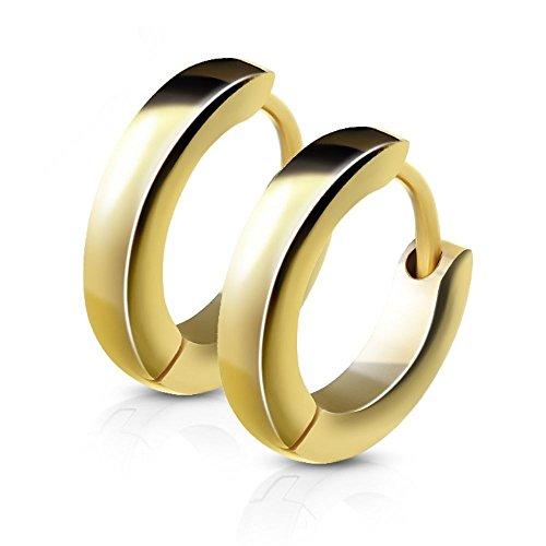 Schmale Creolen von Bungsa®   Hochwertige Edelstahl-Ohrringe Damen & Herren   Edelstahl-Creolen für jeden Anlass   Creolen-Gold