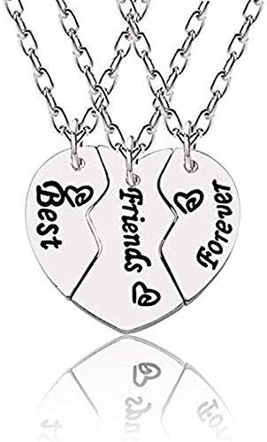 ZQMC Collar Best Friends Forever Collares para Mujer Borken Heart Silver Colgante Recuerdo