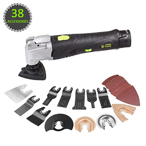 HAWKFORCE 12V MAX Cordless Multi-Purpose Oscillating Tool with 6 Variable Speeds, Quick Release Blade Replacement and 38 Piece Accessories Set MultiTool Kit for Grout Removing, Scraping, Cutting