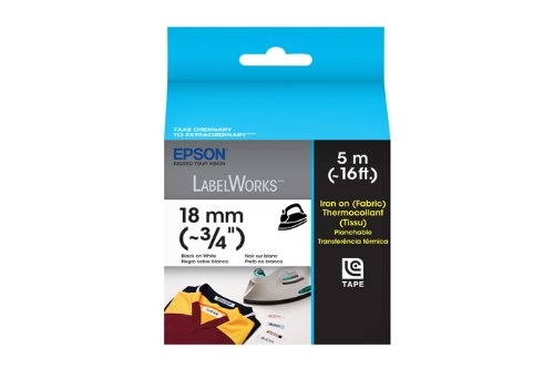 Epson LabelWorks Iron on (Fabric) LC Tape Cartridge ~3/4-Inch Black on White (LC-5WBQ5)