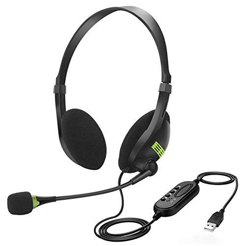 Jsdoin, cuffie USB con microfono cancellazione del rumore e controlli audio, cuffie stereo PC per Business Skype Call Center Office Computer, voce più chiara, super leggera, ultra comfort (nero)