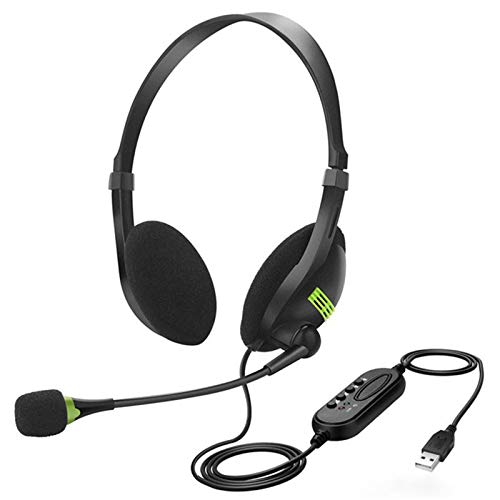 Jsdoin Auriculares USB, con micrófono con cancelación de ruido y controles de audio, auriculares estéreo para PC para negocios Skype centro de llamadas de oficina, ordenador de voz más clara (negro)