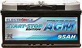 Electronix Bateria AGM 95ah de Gel 12v 950A Bateria de Arranque Solar para Coches START STOP EDITION Caravanas Barcos Camper Car Battery ciclo profundo ideal para Interior Resistente a Vibraciones