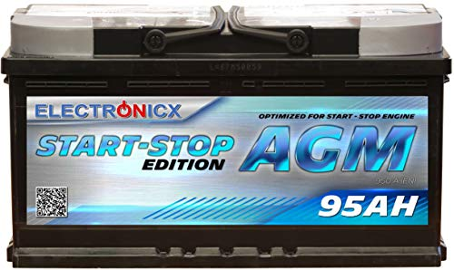 Electronicx AGM Autobatterie Starterbatterie Batterie Start-Stop 95 AH 12V 950A