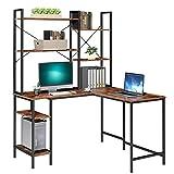 Mesa Escritorio Escritorio Esquinero Escritorio Ordenador Mesa para Ordenador en L Madera y Metal Estilo Industrial para Estudio Oficina Dormitorio Negro y Retro 130x120x148cm