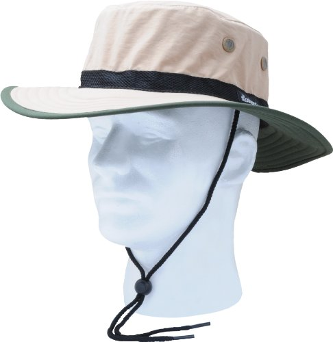 Sloggers Unisex Nylon Sun Hat, Tan with wind lanyard, - adjustable size small - large - Style 446TN - UPF 50+