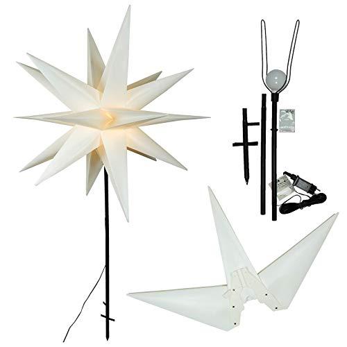 Gartenstab Stern weiß Ø 100, 140 cm hoch, LED warmweiß, mit Erdspieß, Weihnachten außen