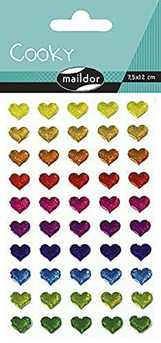 Maildor 560380C Packung mit Stickers Cooky 3D (1 Bogen, 7,5 x 12 cm, ideal zum Dekorieren, Sammeln oder Verschenken, Herzen) 1 Pack
