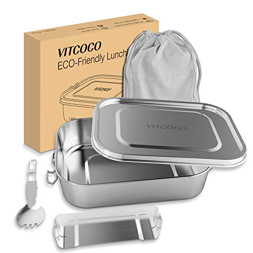 VITCOCO Lunch Box Anti-Fuite (1200ML), Boîte Bento pour Le Déjeuner en Acier Inoxydable avec Clip de Verrouillage et Compartiment Amovible pour Le Pique-Nique, l'école, Le Travail