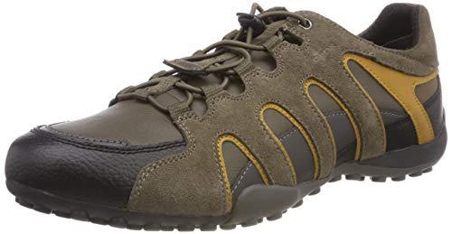 Geox Herren Uomo Snake A Sneaker, Braun (Taupe/Ochreyellow Cq62p), 47 EU