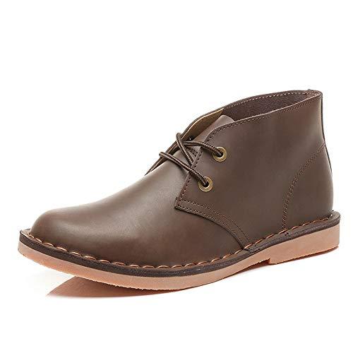 DADIJIER Mode Chukka Boot für Männer Knöchel Schuhe schnüren Echtes Leder Britischen Stil Casual Flache Ferse Abriebfeste (Color : Beeswax, Größe : 38 EU)