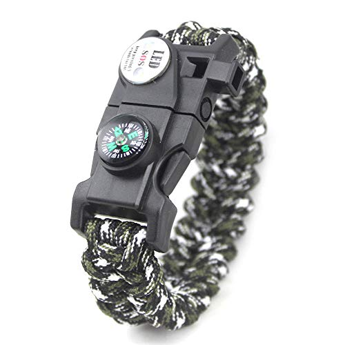 DLSM Outdoor survival equipment, multi-function life-saving bracelet, seven core rope braided LED light bracelet-2pcs-Army green black and white camouflage