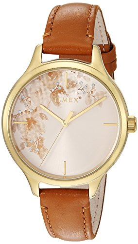 Timex Women\'s TW2R66900 Crystal Bloom Tan/Gold Floral Accent Leather Strap Watch
