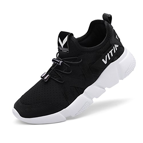 VITIKE Kinder Schuhe Jungen Schuhe Mädchen Sneaker Damen Sportschuhe Outdoor Schuhe Jungen Turnschuhe Laufschuhe Schnürer Freizeit Sportschuhe Kinder Sneaker, 3-schwarz, 34 EU