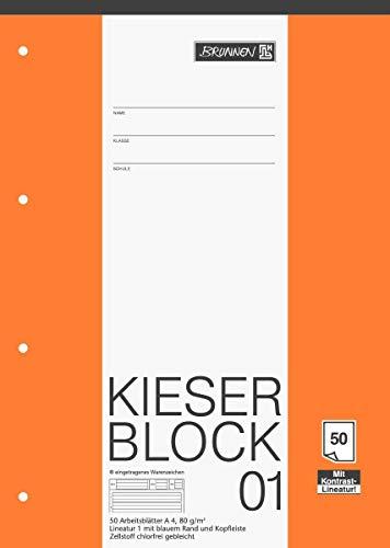 Brunnen 1042941 KIESER-Block Lineatur 1 (A4, 50 Blatt, Gelocht, 80 g/m², Klasse 1) - 5er Pack