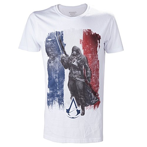 Assassin's Creed Unity French Tricolor Vlag T-Shirt voor Man (L, Wit)