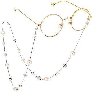 Newest Elegant White Yellow Imitation Pearl Eyewears Chains Glass Beaded Eyeglass Lanyards Cord Holder Glasses Ropes,Silver