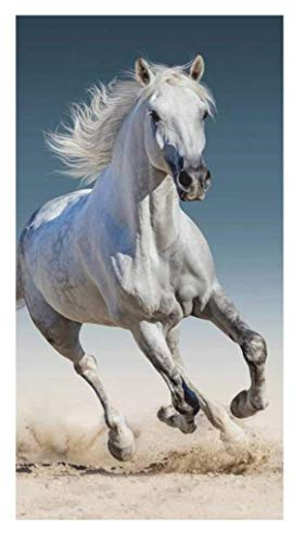Pferde- tolle Gechenkidee für Kinder - Handtuch/Saunatuch/Strandtuch/Duschtuch/Badetuch - 70 x 140 cm - 100% Baumwolle (Horse 01)