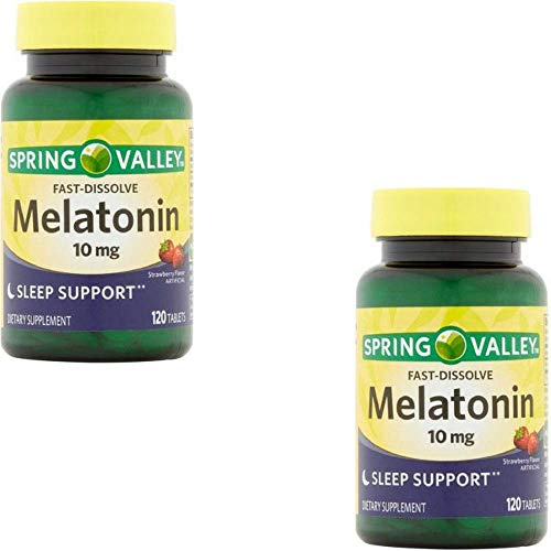 Spring Valley Fast-Dissolve Melatonin, 10 Mg, 120 Tablets by Spring Valley (2 Pack)