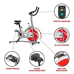 Sunny Health & Fitness Indoor Cycling Exercise Bike Stationary Exercise Equipment - SF-B1203
