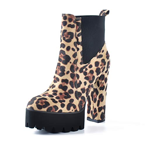 Bequeme elastische Plateaustiefel f¨¹r Damen, runde Zehe, klobige High Heel Pull on Ankle Booties...