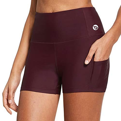 BALEAF Women's High Waist 3 Inches Compression Spandex Workout Running Yoga Volleyball Shorts Back Zipper Pocket Wine Red XXL