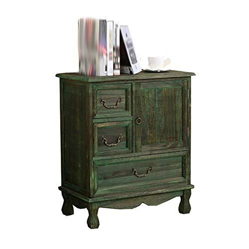 YAMEIJIA bureautafel | oude houten kast | slot compartiment kast | grote laden grote capaciteit locker | slaapkamer houten kast structuur 57 * 31,5 * 67 cm, Green