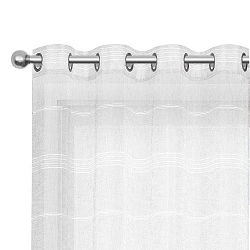Striped Sheer Curtains for Living Room, Linen Look Voile Semi Sheer Curtain Drapes for Bedroom (1 Panel, 52 x 84 Inch White)