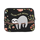 Design Custom Quote Follow Your Dream Cute Sloth Tree Flower Sleeve Soft Laptop Case Bag Pouch Skin for MacBook Air 11'(2 Sides)