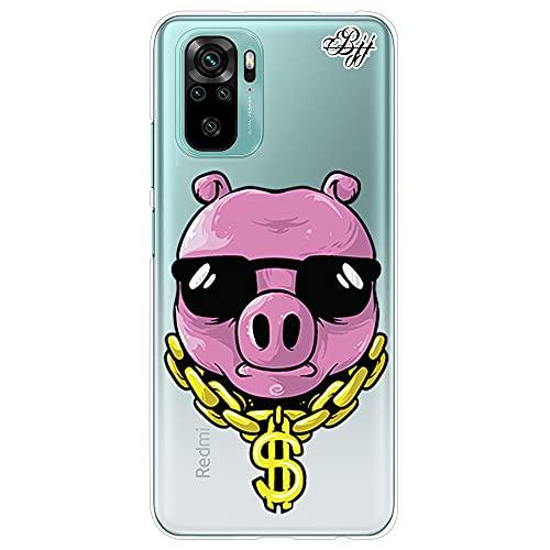 Funda Slim Transparente para [ Xiaomi Redmi Note 10 4G / Redmi Note 10S ], Carcasa de Silicona Flexible TPU, diseño : Cerdo Gangster con Cadena y Gafas de Sol