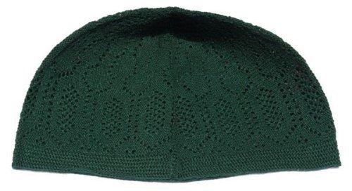 Kufi - Dark Green One-Size Turkish-Made Moslem Islamic Hat Taqiya Takke Skull Cap