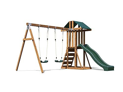 Dunster House Climbing Frame Pressure Treated Wooden Wave Slide Swing Set...